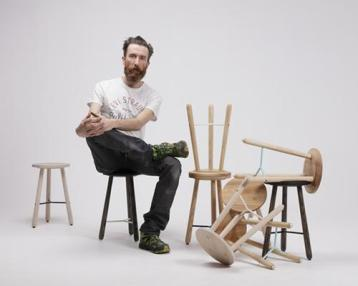 Loukas Morley and his En Pointe stools from The Loft Life